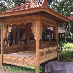Gazebo Kayu Jati Jepara | Desain Ukir Jepara | Jual Gazebo Murah | Minimalis | Taman Rumah | Sekolah | Hotel | Pantai | Resto | Bali | Jogja