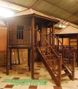 Gasebo Tingkat Rumah Panggung Kayu Glugu