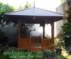 Gazebo Kayu Jati Model Terbaru Atap Sirap