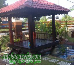 Gazebo Minimalis Kayu Jati Atap Genteng Taman Rumah | Jual Harga Murah | Gazebo Ukuran Besar | 2x2 | 2x3 | 4x6 | 3x6 | 3x8 | 3x3 Meter