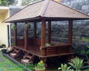 Gazebo Panjang Atap Sirap Kayu Ulin